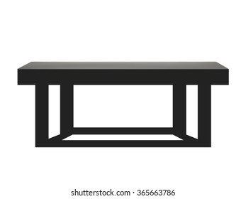 Black wooden table isolated on white background