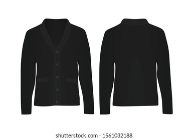 Black  woolen cardigan. vector illustration