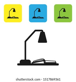 Black Workplace with table lamp and open book icon isolated on white background. Table office lamp. Set icons colorful square buttons. Vector Illustration
