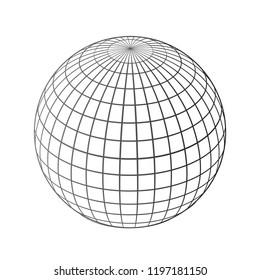 Black world globes net - stock vector