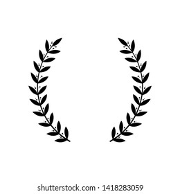 Black wreath silhouette for award decoration or victory emblem. Two separate branches of laurel with ornate leaves, champion trophy frame -isolated vector illustration on white background