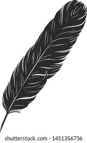 Black writing ink pen. | Hand drawn feather pen vector. | Eps 10 illustration