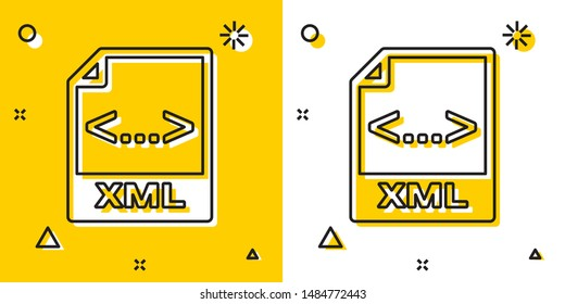Black XML file document. Download xml button icon isolated on yellow and white background. XML file symbol. Random dynamic shapes. Vector Illustration