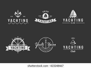 Black yachting logo set