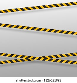 Black and yellow caution lines isolated. Realistic warning tapes. Danger signs. Vector background.