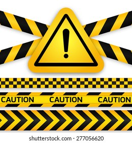 Black and yellow caution striped tapes with yellow hazard warning attention sign. Vector illustration.
