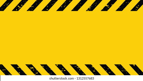 Black and yellow Caution tape. Blank Warning background. Vector illustration
