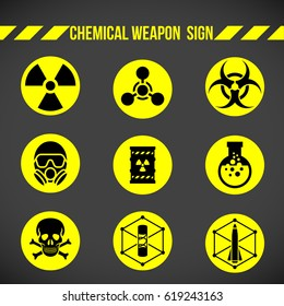 Black and yellow Chemical weapon on circle sign vector set design