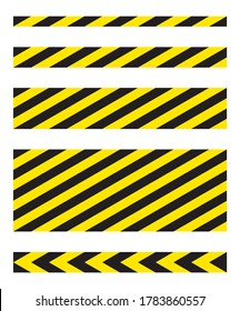 Black and yellow diagonal stripe vector icon collection. Seamless caution and warning sign tape set. Industrial safety and attention symbol line pattern. Isolated on white background.