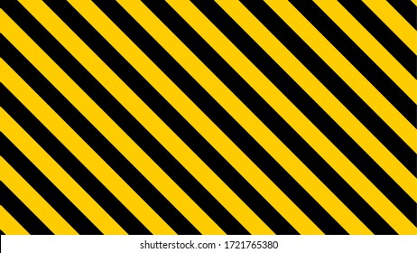 Black & Yellow Diagonal Stripes Pattern Icon with an Aspect Ratio of 16:9. Vector Image.