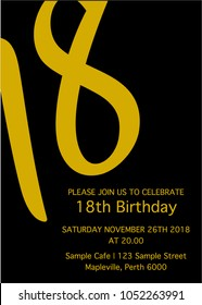 Black yellow Eighteen invitation card. 18th birthday party vector template.