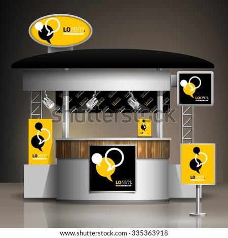 Exhibition Stand Poster Design : Black yellow exhibition stand design dialog stock vector royalty