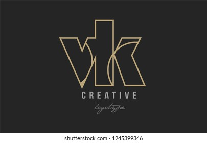 black and yellow gold alphabet letter vk v k logo combination design suitable for a company or business