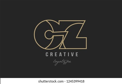black and yellow gold alphabet letter cz c z logo combination design suitable for a company or business