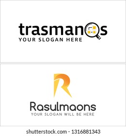 Black yellow line art initial R magnifying glass combination mark logo design concept suitable for repair retail business