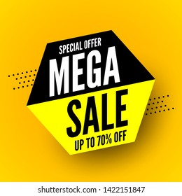 Black and yellow mega sale banner, special offer up to 70% off. Vector illustration.