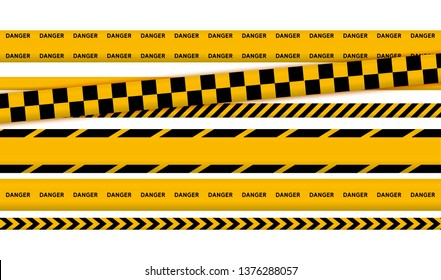 Black and yellow police stripe border, construction, danger caution seamless tapes vector illustration set