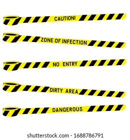 Black yellow police warning tape with the inscription. Dirty zone danger of infection. Yellow warning tape. Isolated. Risk sign. Attention sign symbol. Flat vector illustration.
