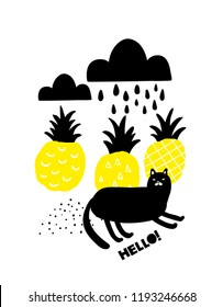 Black and yellow print with lazy black cat and yellow pineapples. Vector pattern in cute korean style.