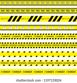 Black and yellow stop tape with inscriptions on a white background, dangerous, warning, police.