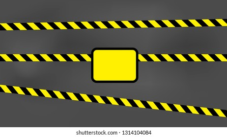 Black and yellow strip reflective warning strip safety zone cordon wall with empty text label.