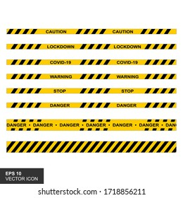 Black and yellow stripes. Barricade tape, Vector flat style cartoon illustration isolated on white background