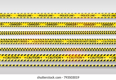 Black and yellow stripes set. Warning tapes. Danger signs.  Caution ,Barricade tape, Do not cross, police, scene barrier tape. Vector flat style cartoon illustration isolated on background
