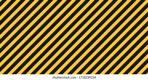 Black yellow stripes wall Hazard industrial striped road warning Yellow black diagonal stripes Seamless pattern Vector