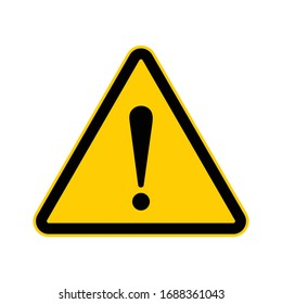 Black and Yellow triangle with exclamation mark, Warning / alert road sign icon