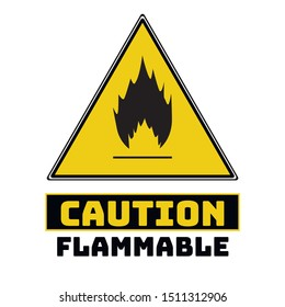 Black and yellow Triangle Hazard warning and attention flammable fire road sign. With symbol . Isolated on white background. Caution or accident prevention, beware notification, vector illustration