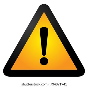 Black and yellow triangle warning alert sign vector illustration. Caution 3d attention sign black and yellow. Black exclamation point. Note, care, notice mark