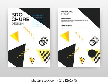 Black, yellow triangles design for annual report, brochure, flyer, poster. Black elements on white background vector illustration for flyer, leaflet, poster. Business abstract A4 brochure template.