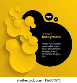 black and yellow vector abstract background composed of overlapping circles