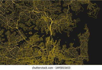 Black and yellow vector city map of Sydney with well organized separated layers.