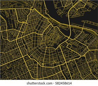 Black and yellow vector city map of Amsterdam with well organized separated layers.