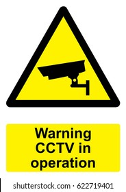 Black and Yellow Warning Sign isolated on a white background -  CCTV in operation