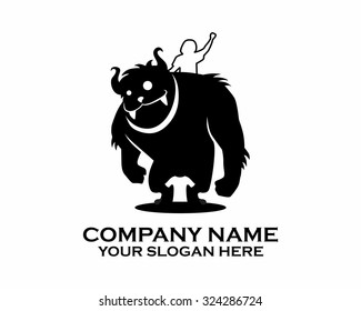 black yeti big foot pet silhouette cartoon character