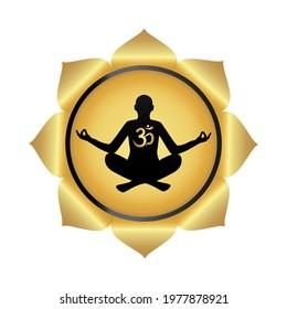 Black yoga silhouette, lotus, ancient Hindu mantra OM (AUM). Yoga symbol. Gradient design. Vector illustration.