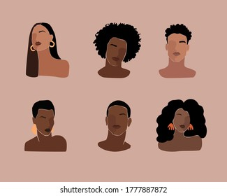 Black young beautiful women and man, Portraits with different hairstyles. Black lives matter poster.