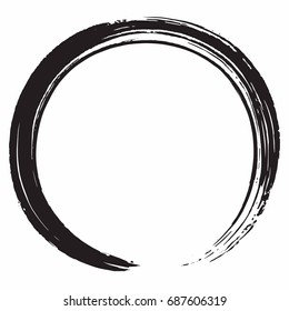 Black Zen Circle Brush Logo, Sign, Icon Vector Design Illustration