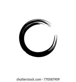 Black Zen Circle Watercolor Logo, Sign, Icon, Illustration, Vector Design Template