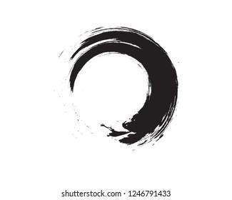 Black Zen Enso Symbol Original Vector Design. Painting Enso Zen Circle Chinese Brush Style Illustration. Logo, Emblem Design. Brush Drawn Buddhist Sign Isolated on White. Editable Fine Art Element.