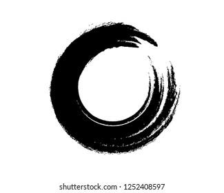 Black Zen Enso Symbol Original Vector Design. Painting Enso Zen Circle Chinese Style Illustration. Logo, Emblem Design. Brush Drawn Buddhist Sign Isolated on White. Editable Fine Art Element.