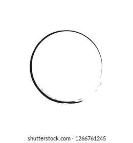 Black Zen Symbol Enso Vector Illustration. Original Freestyle Hand Painted Brush Stroke Circle. Chinese Meditative Sign Enso Isolated on White. Editable Element For Your Design. Emblem, Logo Design