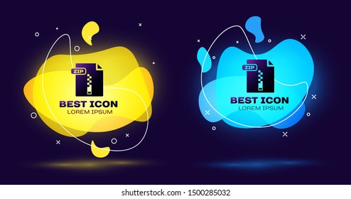 Black ZIP file document. Download zip button icon isolated on dark blue background. ZIP file symbol. Set abstract banner with liquid shapes. Vector Illustration