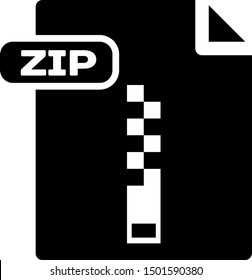 Black ZIP file document. Download zip button icon isolated on white background. ZIP file symbol.  Vector Illustration