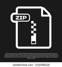 Black ZIP file document. Download zip button icon isolated on black background. ZIP file symbol.  Vector Illustration