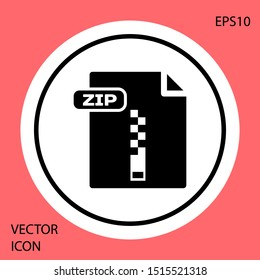 Black ZIP file document. Download zip button icon isolated on red background. ZIP file symbol. White circle button. Vector Illustration
