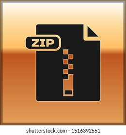 Black ZIP file document. Download zip button icon isolated on gold background. ZIP file symbol.  Vector Illustration