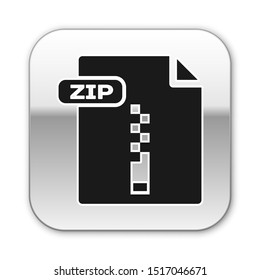 Black ZIP file document. Download zip button icon isolated on white background. ZIP file symbol. Silver square button. Vector Illustration
